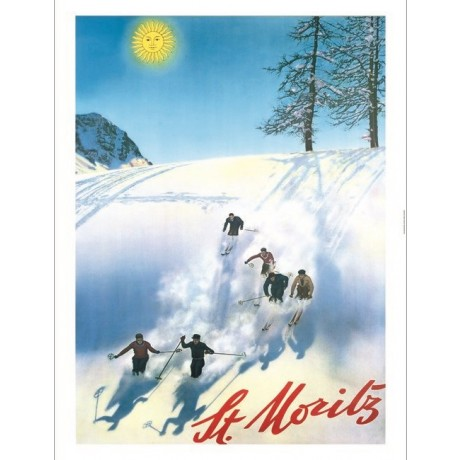 """St Moritz"" skiing swiss tourism poster NEW CANVAS choose your SIZE, 55cm up"