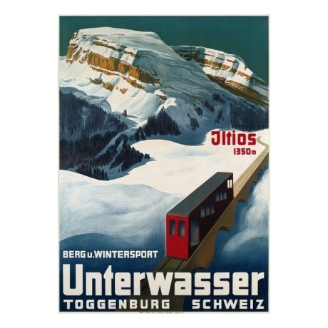 Unterwasser swiss winter sports tourism NEW CANVAS choose SIZE, from 55cm up