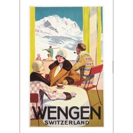 Wengen switzerland ski tourism poster NEW CANVAS choose SIZE, from 55cm up, NEW