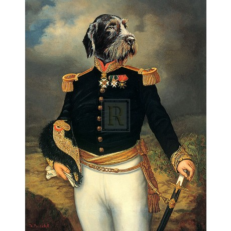 "THIERRY PONCELET ""Ceremonial Dress"" dog in uniform NEW SIZE:35cm x 28cm NEW"