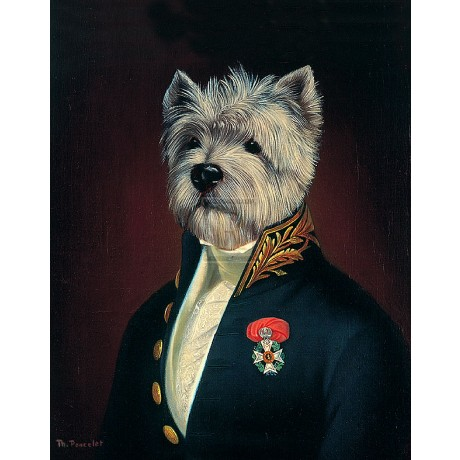 "THIERRY PONCELET ""The Officer's Mess"" terrier humour SIZE:35cm x 28cm NEW print"