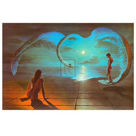 "STEVEN PEARSON ""Wings of Love"" SWAN nude romance PRINT! SIZE:60cm x 90cm NEW"