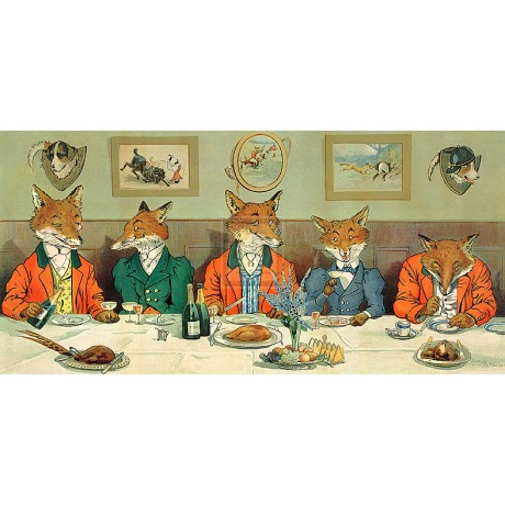 "HARRY NEILSON ""Mr Fox's Hunt Breakfast"" hunting humour SIZE:35cm x 60cm NEW"